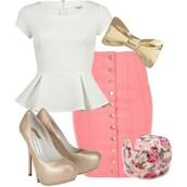 skirt,ring,shirt,nude pumps,pencil skirt