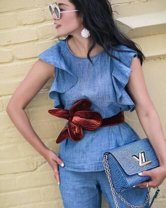 top ruffled top tumblr chambray ruffle blue top belt bag blue bag sunglasses round sunglasses