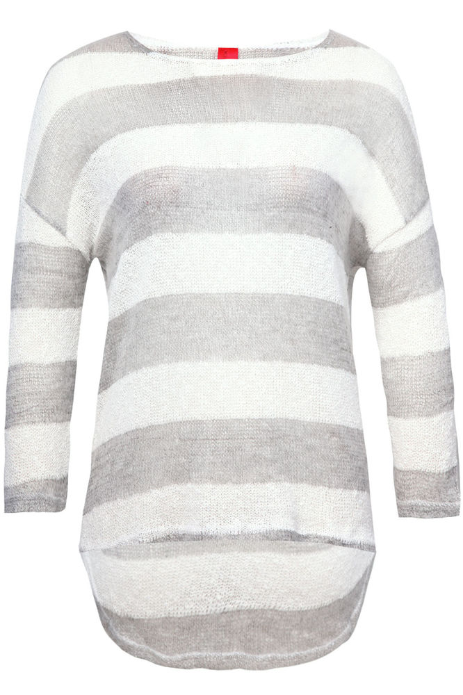 Yoursclothing Womens Plus Size White And Mixed Stripe Loose Knit Jumper   eBay