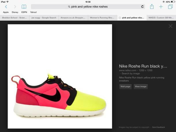 shoes nike nike roshe run pink yellow black neon nike shoes womens roshe  runs fb190388c