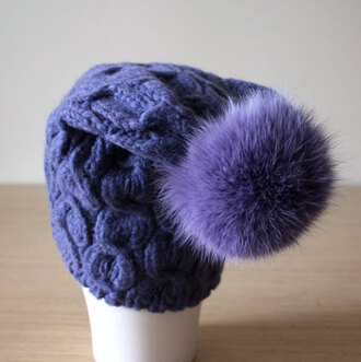hat fur pom pom hat purple beanie violet hat coloured fur warm hat pom pom beanie hat slouchy beanie alpaca etsy etsy store etsy shopping style me