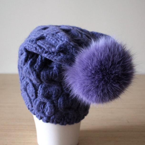 hat fur pom pom hat purple beanie violet hat coloured fur warm hat pom pom  beanie f60a60727a83