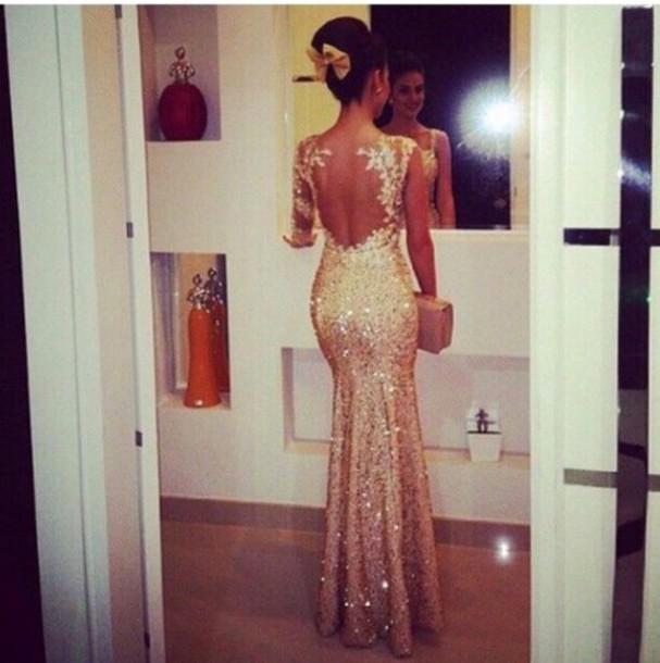 Long sleeve gold mesh sequin dress