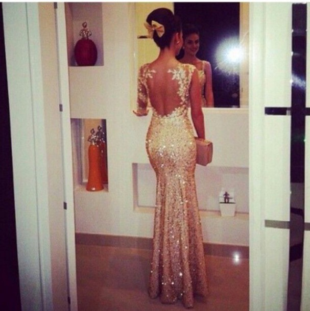 2f1be13bcf89 mermaid prom dress backless prom dress winter formal dress sequins sequin  dress gold dress gold prom