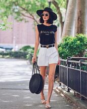 hat,black hat,top,shors,shorts,shoes,bag,sunglasses