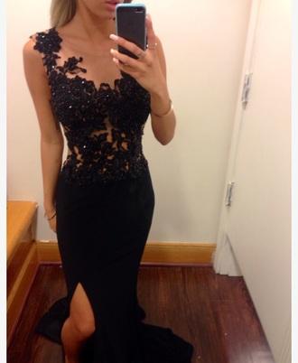 prom dress prom gown lace dress black pretty asap
