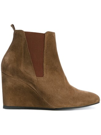 wedge boots women boots suede brown shoes