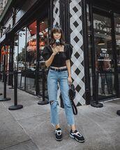jeans,denim,top,crop tops,black top,shoes
