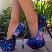 shoes,galaxy heels,high heels,heels,blue high heels,purple shoes,white high heels,light blue,dark blue,summer shoes