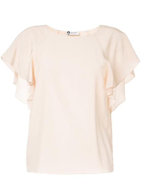 lanvin blouse ruffle women silk purple pink top