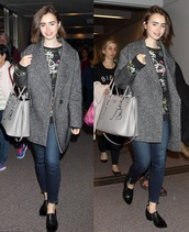 coat,lily collins,fall outfits,bag,sweater,shoes