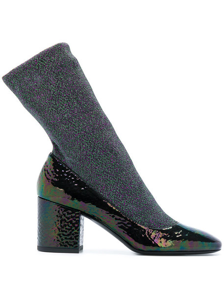 Premiata sock boots glitter women boots leather green shoes