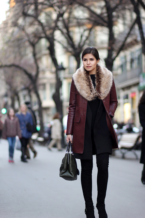 fake leather blogger coat burgundy winter coat winter outfits black bag jacket jeans bag shoes jewels