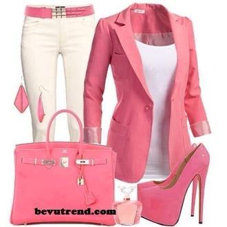 jacket pink bag pink bag