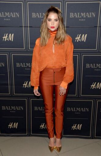 pants blouse ashley benson pumps orange shoes