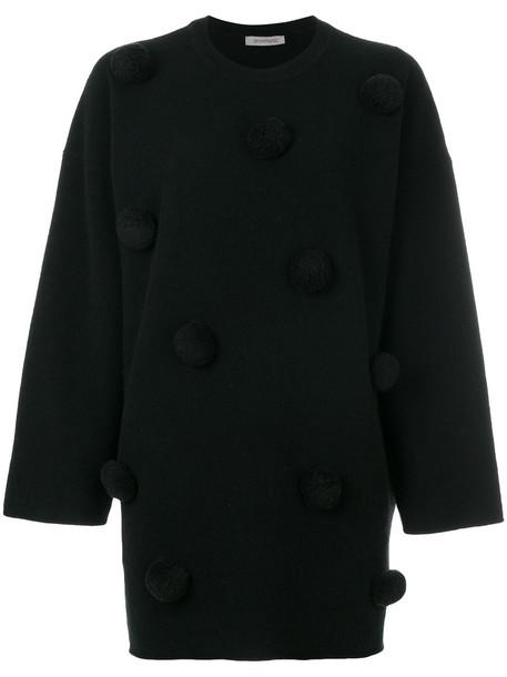 sweater women spandex embellished ball black wool