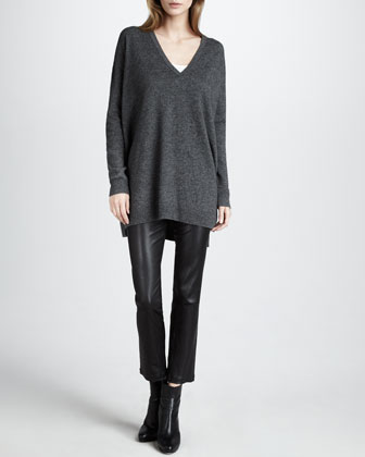 Vince Tunic Sweater & Leather Cropped Leggings - Neiman Marcus
