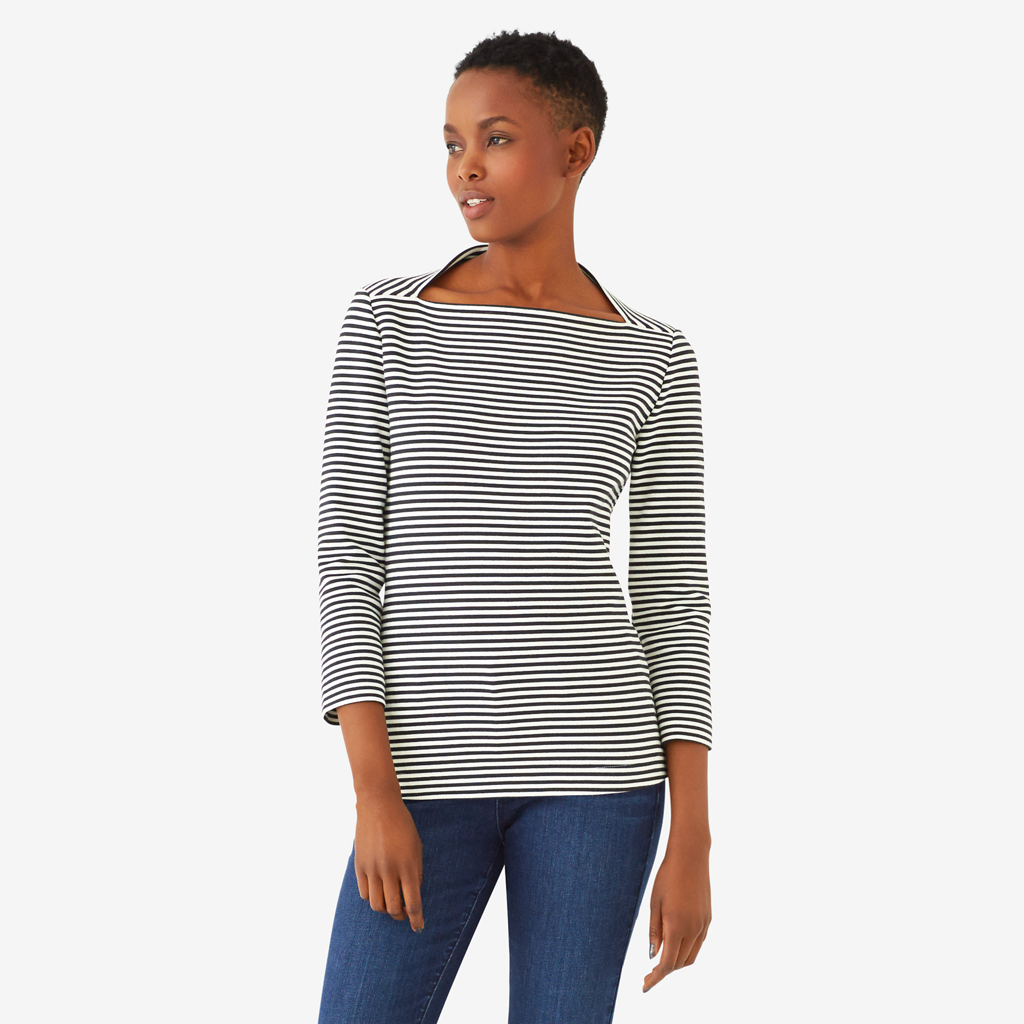 Striped 3/4 sleeve slip neck tee in ponte