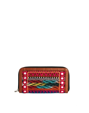 ASOS | ASOS Zip Around Purse with Aztec and Mirror Detail at ASOS