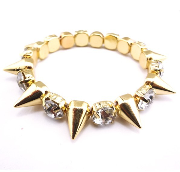 free shipping hotsale 2013 new design punk spike rivet bracelet gold with rhinestone size 5,3cm-in Special Store from Jewelry on Aliexpress.com