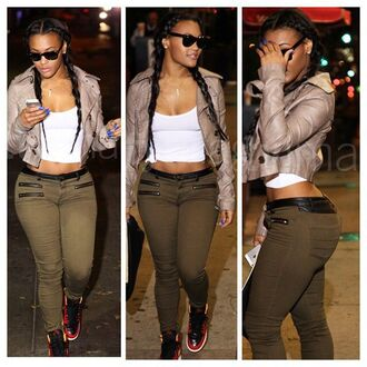 pants jacket crop tops military style