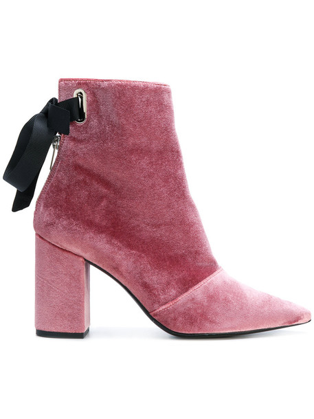 Robert Clergerie women boots leather velvet purple pink shoes
