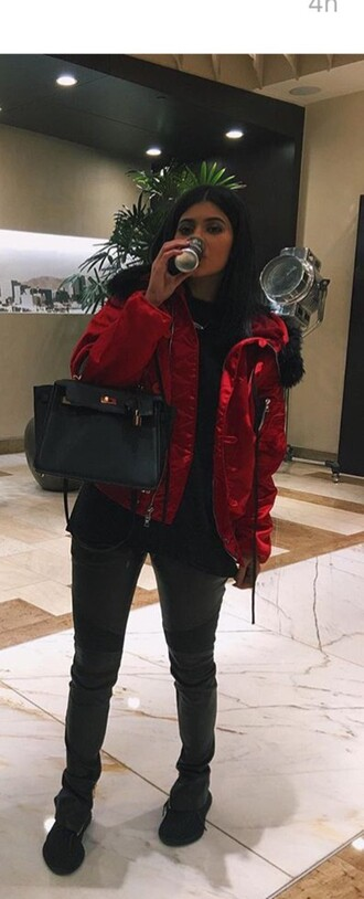 jacket shiny kylie jenner red jacket coat kardashians kendall and kylie jenner all black everything pants instagram sneakers
