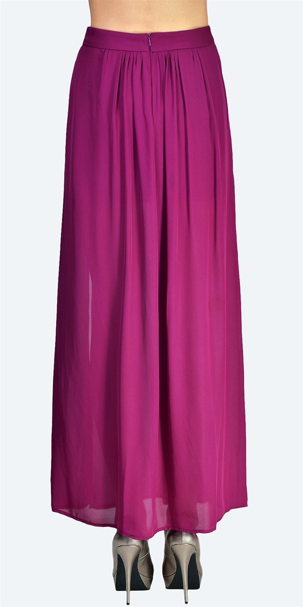 Jennifer Hope - Pleated Slit Maxi Skirt - Wine - Big Drop NYC
