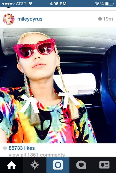 t-shirt tie dye miley cyrus trippy sunglasses alien