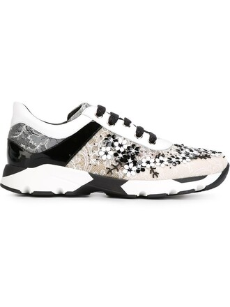 sneakers lace floral black shoes