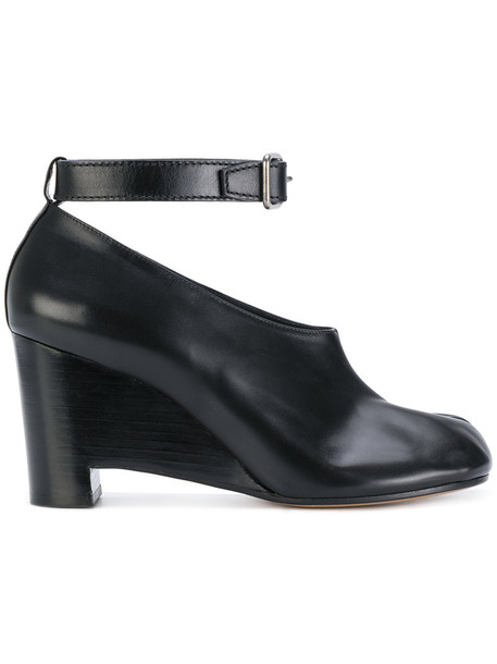 MAISON MARGIELA ankle strap women pumps leather black shoes