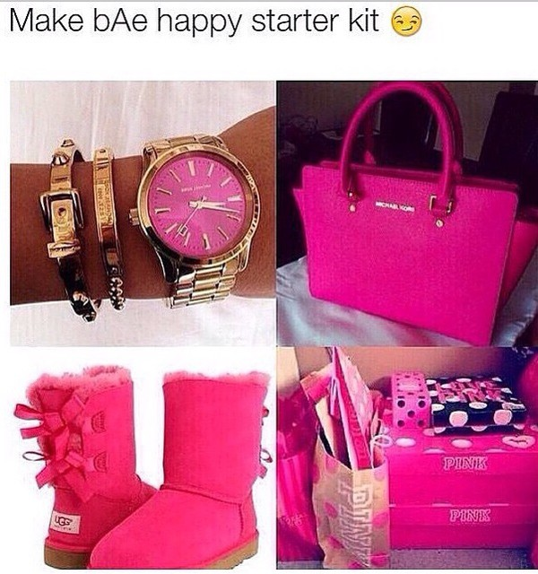 21a68ad7860 jewels, michael kors watch, ugg boots, pink by victorias secret ...