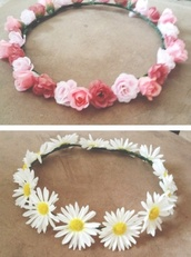 jewels,headband,flowers,roses,daisy,pink,white,flower headband,crown,flower crown