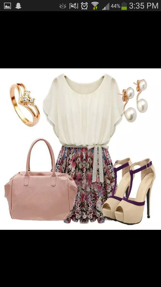 shoes hand bag ring shirt skirt earrings dress bag jewels