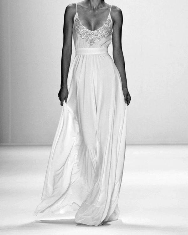 dress white beautiful prom dress fashion elegant prom gown creme beading