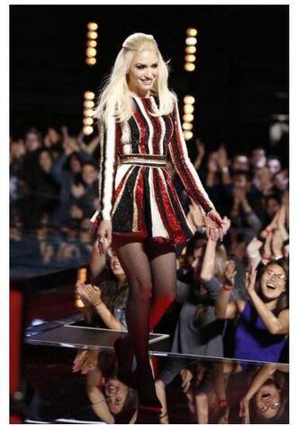 dress stripes sequin dress gwen stefani mini dress flare dress