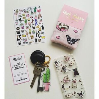 phone cover yeah bunny stickers dog pink pastel frenchie pugs iphone keychain cactus cacti computer sticker home stickers