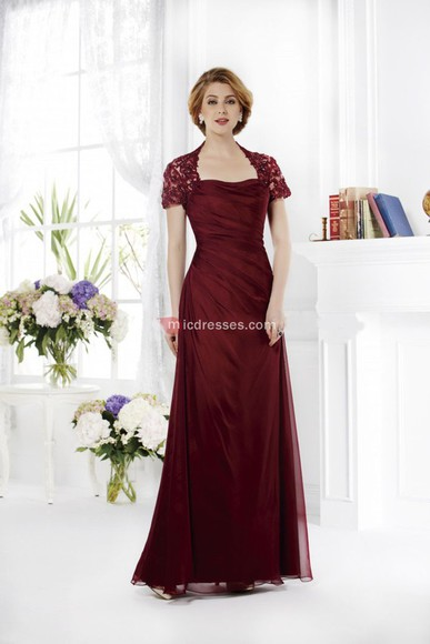 a-line floor chiffon square mother of the bride dresses burgundy