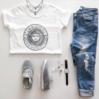 shirt sun moon hipster b&w