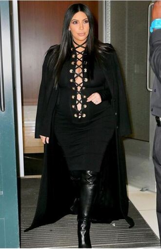 dress lace up black dress all black everything kim kardashian fashion week coat