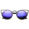 Aragona black frame blue mirror cat eye sunglasses at flyjane