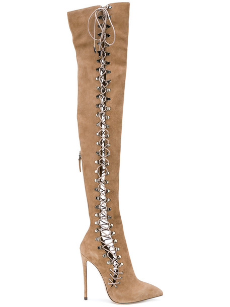 Gianni Renzi high heeled boots high women lace leather nude suede shoes
