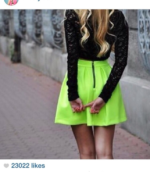 dress black lace long sleeves neon lime skirt neon skirt shirt