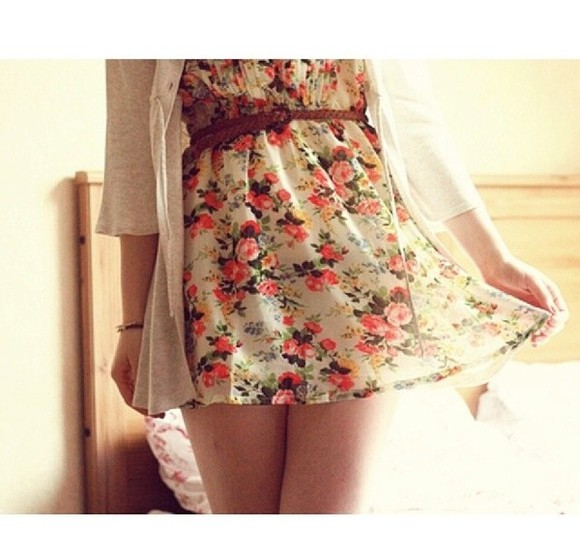 cute dress white cardigan floral flower print dress white dress cream dress floral brown belt