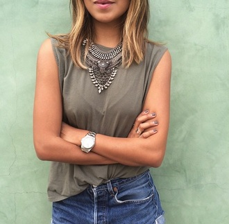 jewels top shirt watch silver jewelry necklace silver necklace kaki boho chic boho jewelry hippie hippie chic summer top summer summer outfits outfit blouse