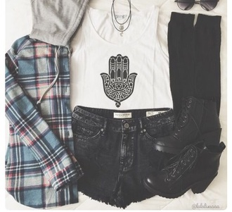 sweater grunge plaid flannel 90s style hoodie shoes