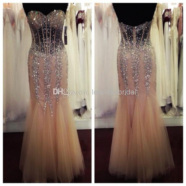 Wholesale Mermaid Prom Dresses - Buy 2015 SSJ Sparkling Crystal Mermaid Prom Dresses Sweetheart Backless Sequin Sexy See-Through Evening Gowns Real Image Formal Dress Cheap, $141.37 | DHgate