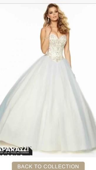 princess prom dress white dress sparkly dress white prom dress