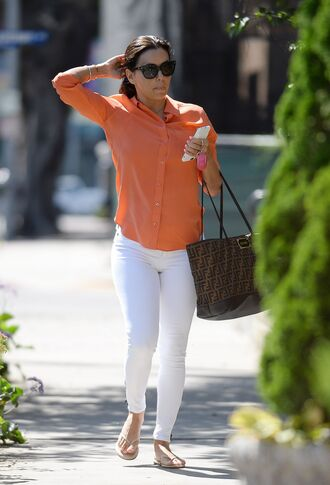 bag eva longoria pants top sunglasses blouse flip-flops button up white jeans brown bag