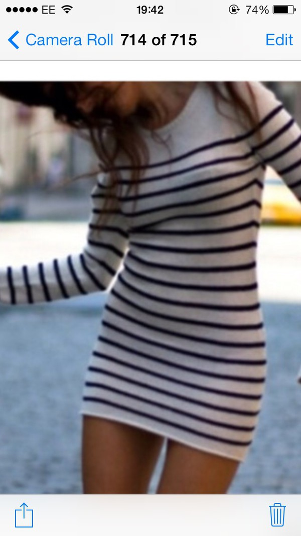 dress striped dress long sleeve dress Long sleeve bodicon